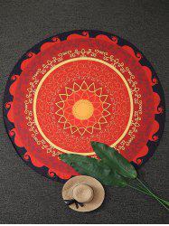 Vintage Mandala Flower Round Beach Throw