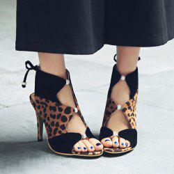 Leopard Printed Lace Up Sandals