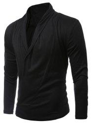 Shawl Collar Asymmetric Cardigan - BLACK