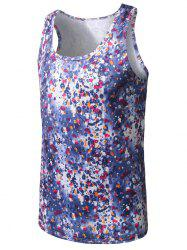 Printed Elastic Tank Top - BLUE