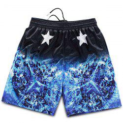 Straight Leg Breathable Stars Print 3D Fire Pattern Drawstring Men's Board Shorts -