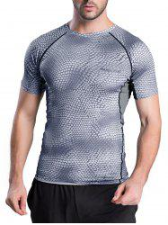 Quick-Dry Snakeskin Pattern Short Sleeve T-Shirt