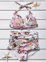 Floral Ruched High Waist Bikini Set -