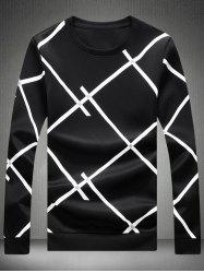 Crew Neck Checked Sweatshirt - BLACK
