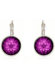 Artificial Gem Blossom Circle Drop Earrings