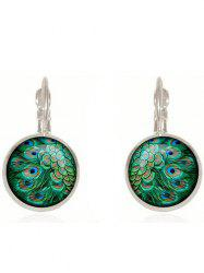 Artificial Gem Peacock Feather Drop Earrings - SILVER