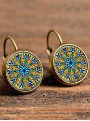 Artificial Gem Circle Bohemian Drop Earrings - COPPER COLOR