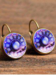 Artificial Gem Flower Circle Drop Earrings