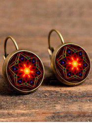 Artificial Gem Hexagram Circle Drop Earrings
