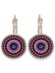 Artificial Gem Circle Ethnic Drop Earrings