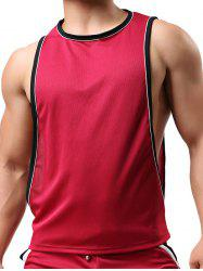 Round Neck Edging Design Sports Tank Top - RED