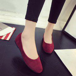 Square Toe Slip On Flat Shoes - WINE RED