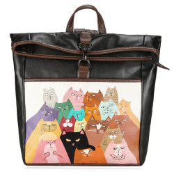 Drôle Cat Painted Backpack - Noir