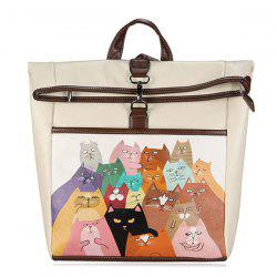 Drôle Cat Painted Backpack - Blanc Cassé