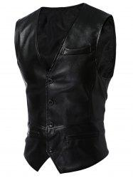 Single Breasted Faux Leather Waistcoat - BLACK