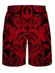 Rose Printed Casual Shorts