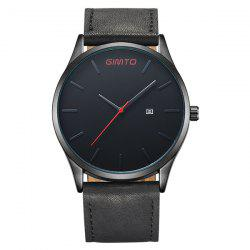 GIMTO Faux Leather Analog Date Watch - BLACK