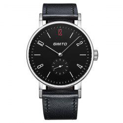 GIMTO Faux Leather Watch with Second Hand