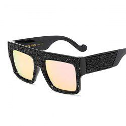 Rhinestone Wide Frame Mirrored Square Oversize Sunglasses