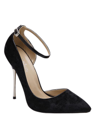 Pointed Toe Velvet Pumps - BLACK