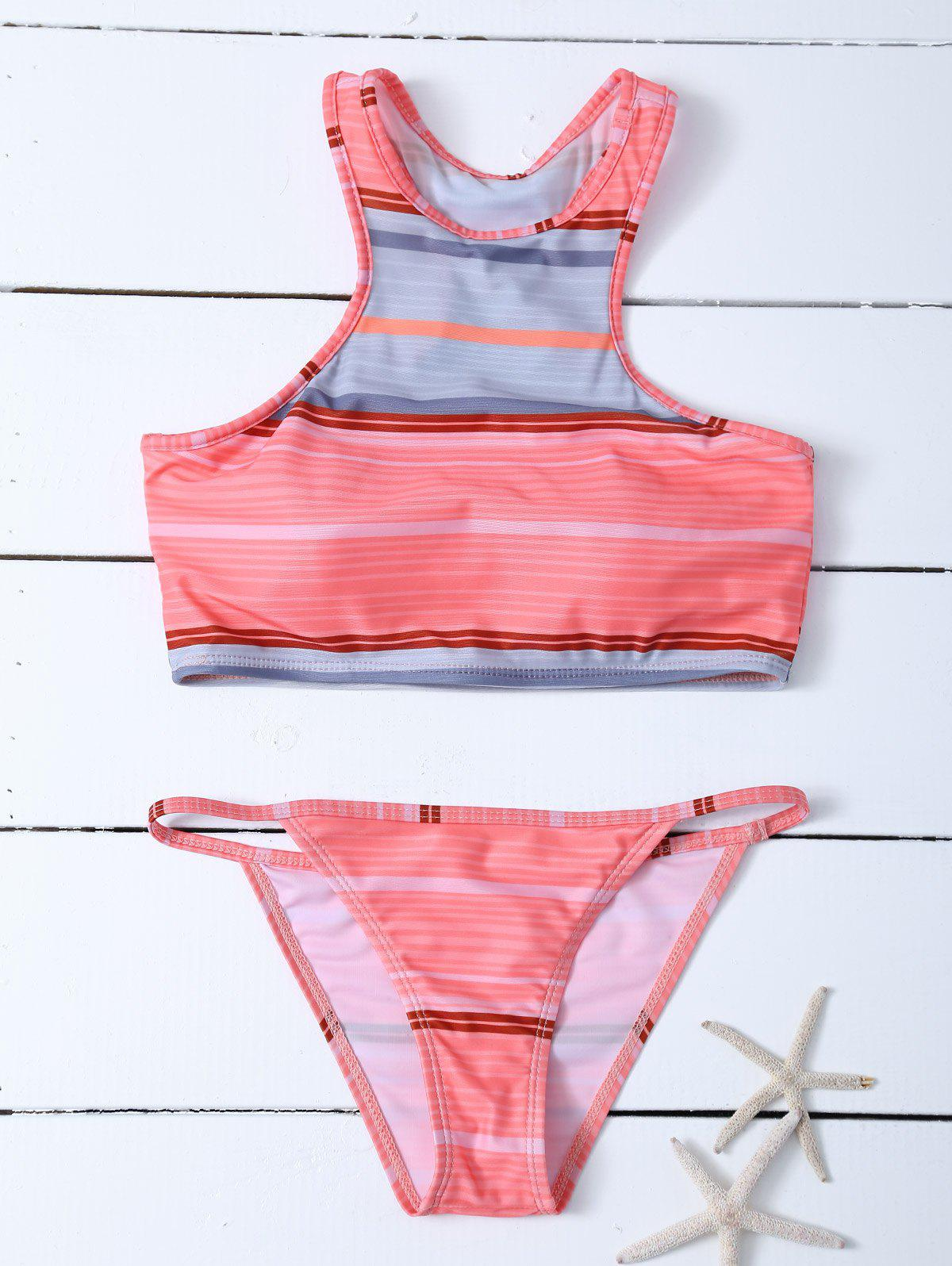 Latest Stripe Racer Back Padded Tankini Bathing Suit