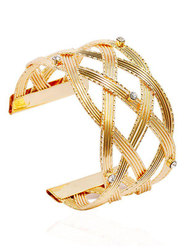 Rhinestone Crisscross Wide Cuff BraceletJEWELRY<br><br>Color: GOLDEN; Item Type: Cuff Bracelet; Gender: For Women; Chain Type: Others; Metal Type: Alloy; Style: Trendy; Shape/Pattern: Solid; Weight: 0.0900kg; Package Contents: 1 x Bracelet;