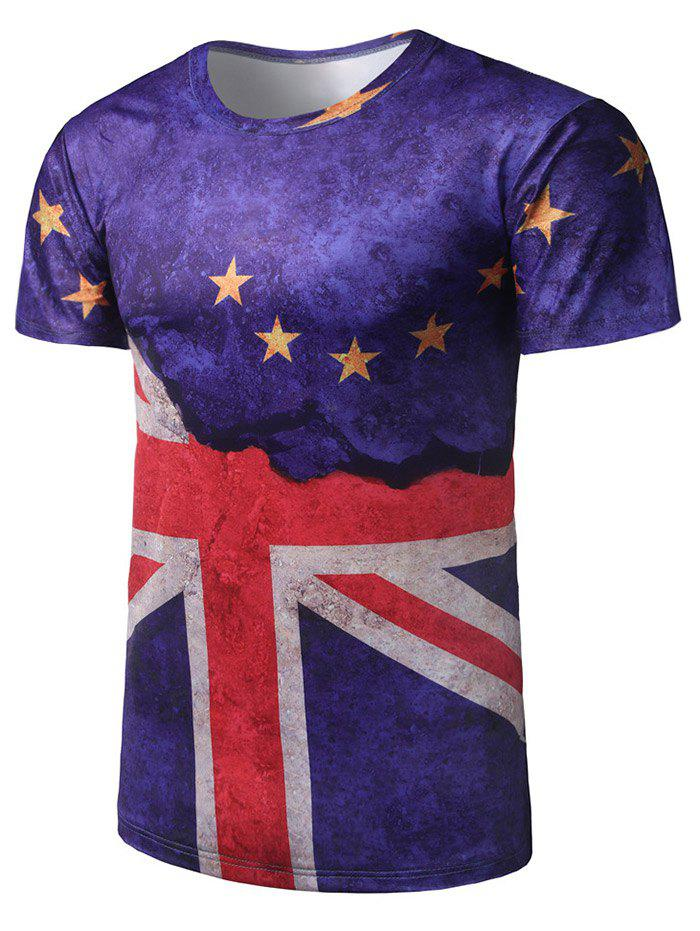Trendy Crew Neck Flag Print Tee