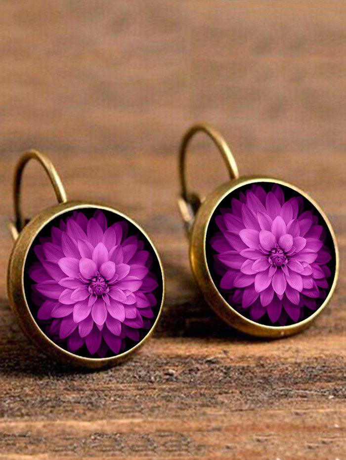 Artificial Gem Blossom Circle Drop EarringsJEWELRY<br><br>Color: COPPER COLOR; Earring Type: Drop Earrings; Gender: For Women; Style: Trendy; Shape/Pattern: Floral; Length: 3.3CM; Weight: 0.0400kg; Package Contents: 1 x Earring (Pair);