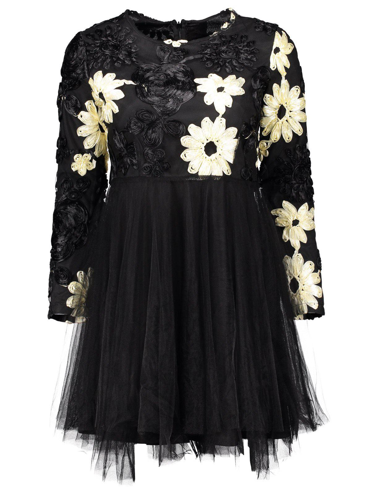 Outfit Flower Multilayered Mini Mesh Panel Dress