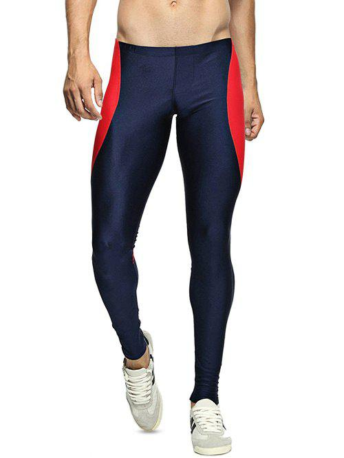 Skinny Color Spliced Elastic Waist Gym PantsMEN<br><br>Size: L; Color: DEEP BLUE; Material: Polyester; Pattern Type: Patchwork; Weight: 0.250kg; Package Contents: 1 x Pants;