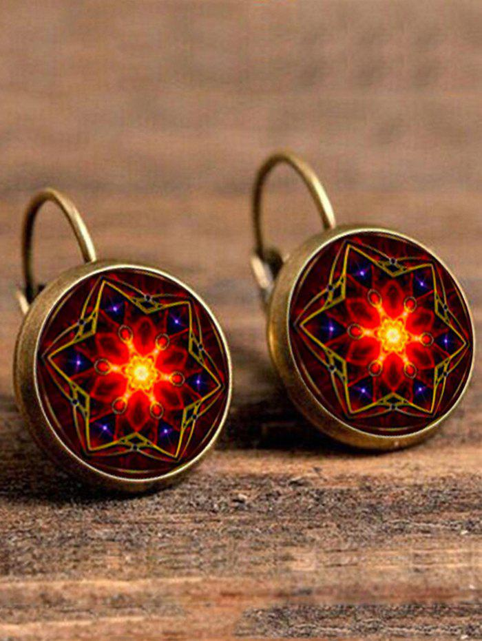Artificial Gem Hexagram Circle Drop EarringsJEWELRY<br><br>Color: COPPER COLOR; Earring Type: Drop Earrings; Gender: For Women; Style: Trendy; Shape/Pattern: Round; Length: 3.3CM; Weight: 0.0400kg; Package Contents: 1 x Earring (Pair);