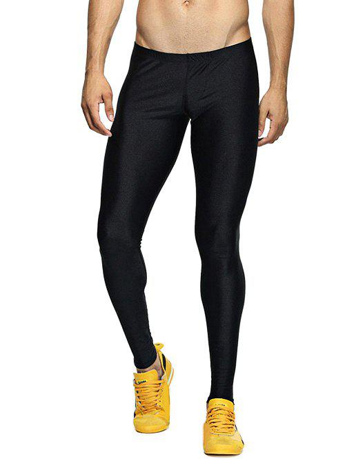 Buy Solid Skinny Elastic Waist Gym Pants
