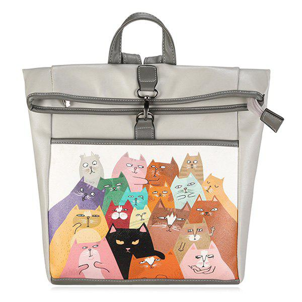 New Funny Cat Painted Backpack