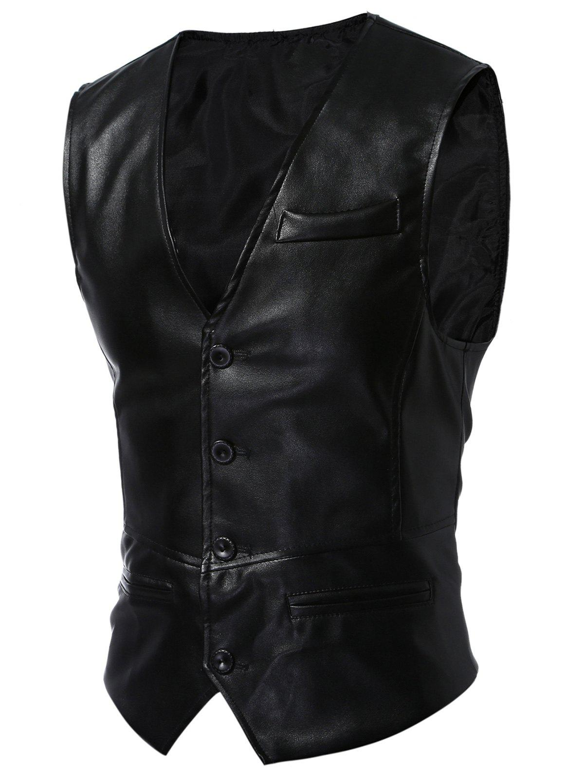 Single Breasted Faux Leather WaistcoatMEN<br><br>Size: 3XL; Color: BLACK; Material: Faux Leather,Polyester; Style: Fashion; Shirt Length: Regular; Collar: V-Neck; Thickness: Standard; Closure Type: Single Breasted; Weight: 0.3100kg; Package Contents: 1 x Waistcoat;