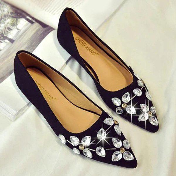 Rhinestones Suede Flat ShoesSHOES &amp; BAGS<br><br>Size: 39; Color: BLACK; Gender: For Women; Flat Type: Ballet Flats; Toe Style: Closed Toe; Toe Shape: Pointed Toe; Closure Type: Slip-On; Shoe Width: Medium(B/M); Pattern Type: Solid; Embellishment: Rhinestone; Occasion: Casual; Upper Material: Suede; Season: Spring/Fall,Summer; Weight: 0.7280kg; Heel Height Range: Flat(0-0.5); Heel Height: 1CM; Package Contents: 1 x Flat Shoes (pair);