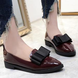 Pointed Toe Bow Flat Shoes -