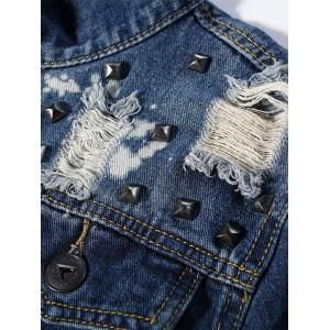 Button Up Destroyed Denim Jacket -