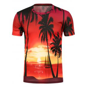 3D Setting Sun Printed Crew Neck T-Shirt
