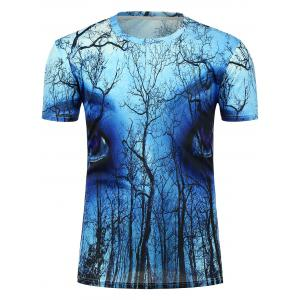 3D Forest Eyes Printed Crew Neck T-Shirt