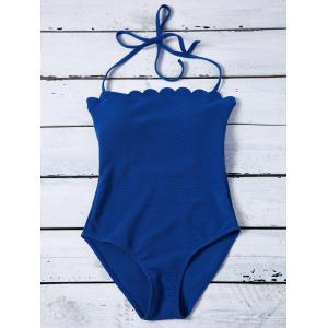 Scalloped Padded Halter Bandeau One Piece Swimwear
