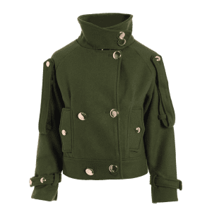 Wool Blend Cropped Peacoat - ARMY GREEN L