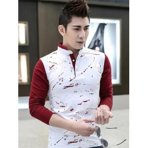 Ink Splattered Long Sleeve Polo Tee