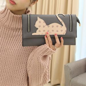 Zip Detail Cat Patch Clutch Bag -