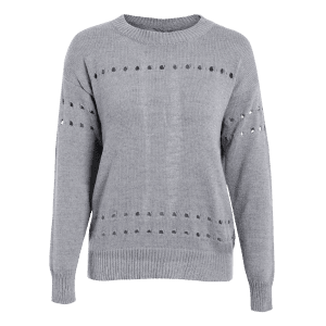 Oversized Bowknot Cut Out Sweater - GRAY ONE SIZE