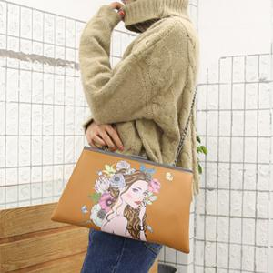 Clip Portrait Print Clutch Bag -