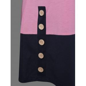 Button Decorated T-Shirt - COLORMIX M