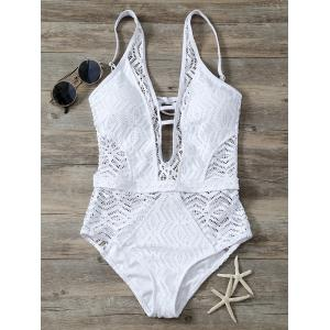 Cutout Backless Lace One Piece Swimwear - White - L