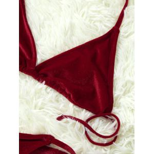 Velvet Skimpy Halter Top Bikini - WINE RED S