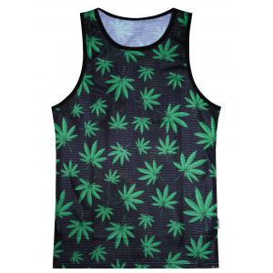Leaf Print Breathe Mesh Tank Top - Black And Green - 2xl