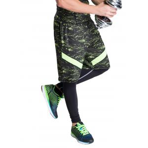 Color Block Selvedge Embellished Elastic Waist Basketball Shorts - NEON GREEN XL